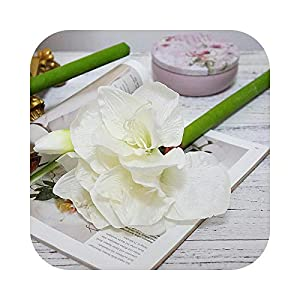 Dreamture Artificial Amaryllis Flower Branch for Home Table Wedding Decoration Fake Silk Flowers Hippeastrum Flores-White