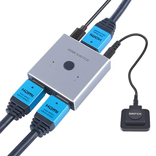 HDMI Schalter Bi-Direction 2 In 1 Out oder HDMI Umschalter 1 In 2 Out, HDMI Switcher Unterstützt HD 4K 3D 1080P für HDTV/Blu-Ray Player/DVD/DVR/Xbox/PS4 usw, Mit 1X externem Schalterknopf, Grau