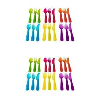 Ikea Kalas 36 Piece Plastic PBA Free Colorful Cutlery Set