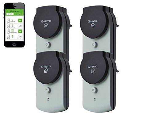 4smile.shop Wifi Schalt-Steckdose mit App-Steuerung für Aussenbereich IP44, 4 Stück in grau