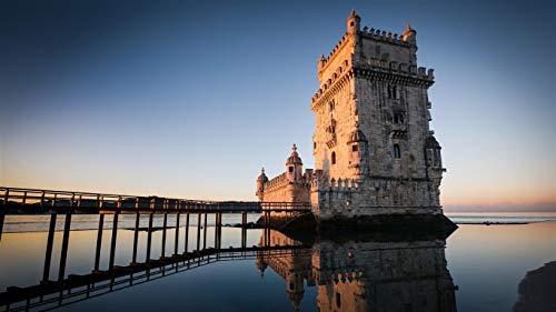 Puzzle 1000 Piezas, Torre de Belem, Lisboa, de Gradiente Difícil y Desafiante Juguete,Grande Educativo El Alivio del Estrés Juguete Relajante Juego Divertido para Adultos Niños