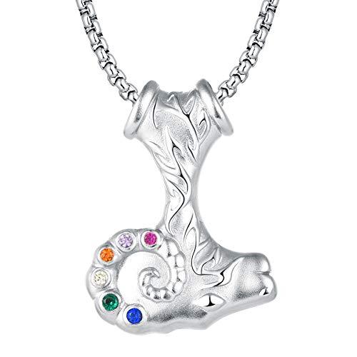 JO WISDOM Colgante de Martillo de Thor de Plata 925 Vikingo Mjolnir Collar con piedra infinito, para Hombre y Mujer