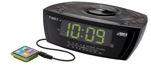 Timex T227BQ3 Large Display Alarm Clock Radio with MP3 Line-In, Black