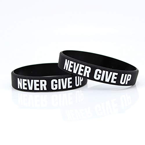Never GIVE UP Motivational & Inspirational Black Silicone Gym...