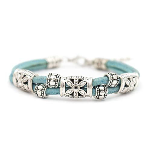 WAY2BB - Damen Armband mit Seil und Blüten aus Stahl