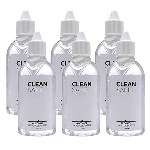 The London Grooming Company Clean Safe - Limpiador Gel De Manos Con Alcohol No Lavable Gel Desinfectante Instantáneo 6 X 50ml
