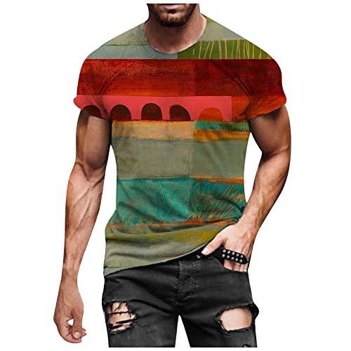 Camiseta para hombre de corte ajustado, cuello redondo, moda casual, impresión 3D, suave, divertida, estampada, manga corta. verde XXL