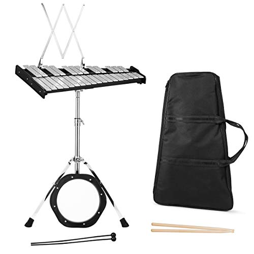 Giantex Percussion Glockenspiel Bell Kit 30 Notes, with Electroplated Adjustable Height Frame, Music Stand, an 8' Practice Pad, and a Pair of Bell Mallets & Wooden Drumsticks, Carrying Bag