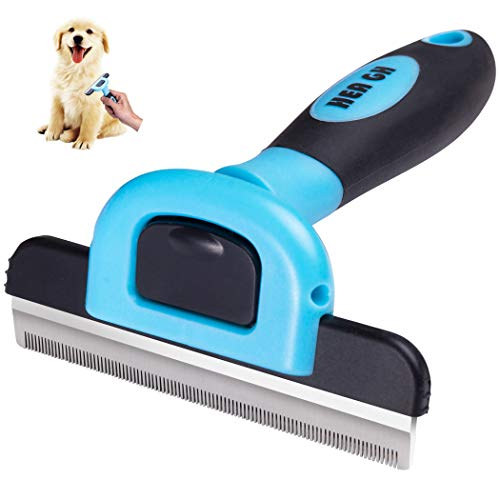 Deshedding Brush Pet Grooming Brush for Dog- 4 Inches Wide Stainless Steel Safety Blade Dramatically Reduce Shedding for Small Medium and Large Pets