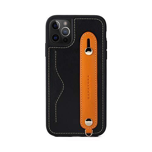[HANATORA] iPhone12/iPhone12 Pro ケース 本革 グリップケース レザー ストラップ付属 イタリア製牛革 ヌメ革 片手操作 カード収納 スタンド機能 メンズ レディース ブラック/オレンジ CGH-12Pro-Black-OG