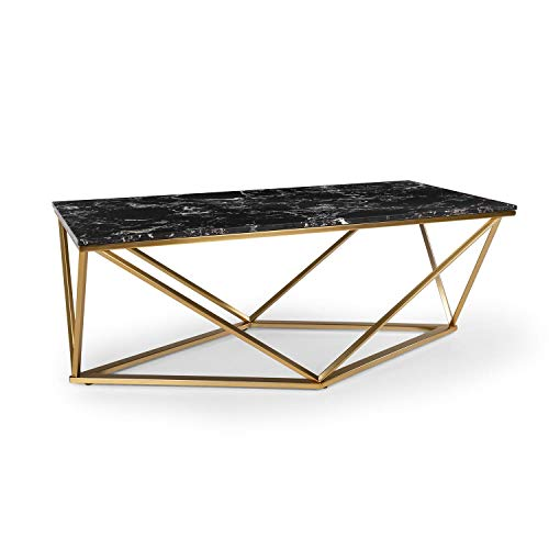 Besoa Black Onyx I Mesa para el sillón - Mesa Auxiliar, 110 x 42,5 x 55 cm, Soporte de mármol Blanco, Hecho en Metal con Todos Dorados y Negros