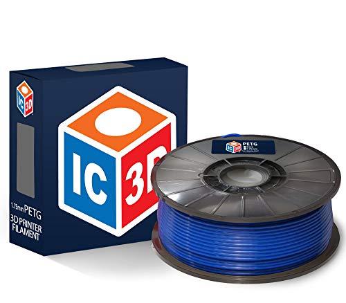 IC3D - Filament PETG pour imprimante 3D - Précision dimensionnelle +/- 0,05 mm - Qualité professionnelle - Fabriqué aux États-Unis, 2.2 lbs, bleu