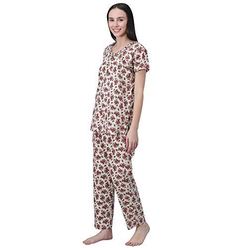 Shararat Women's Floral Printed Night Suit Night Pyjama and Top Set Nightwear for Women Red
