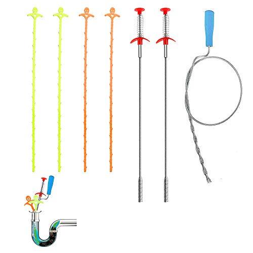 AIFUDA - Juego de 7 herramientas de limpieza para drenaje, para drenaje, para drenar tuberías en cocina, baño, bañera, inodoro, desagüe de suelo, alcantarillado