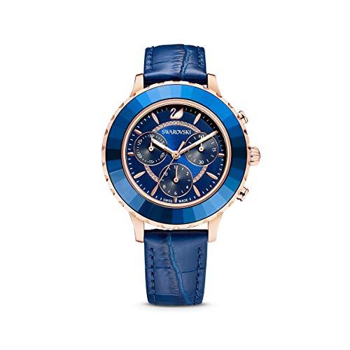 SWAROVSKI Damen Octea Lux Chronograph Rosegold Quarz mit Lederband Crystal Watch Collection blau