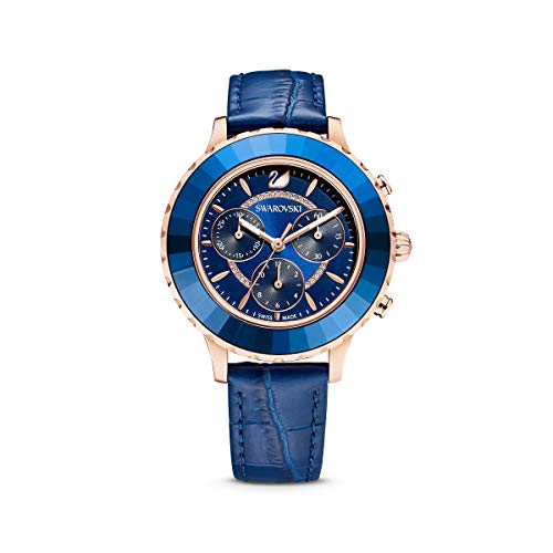 SWAROVSKI Damen Octea Lux Chronograph Rosegold Quarz mit Lederband Crystal Watch Collection blau