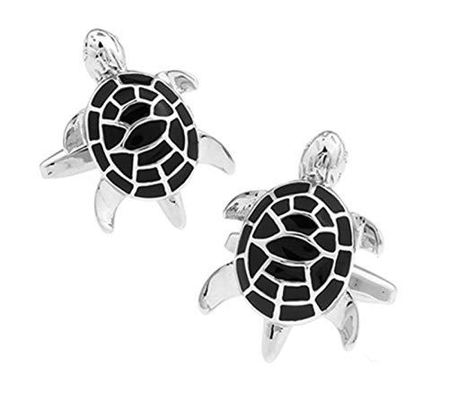 TFGUOqun Moda Cufflinks de Tortugas para Hombres Diseño Material de latón Mancuermas Verdes para Mujeres y Hombres (Metal Color : Black)