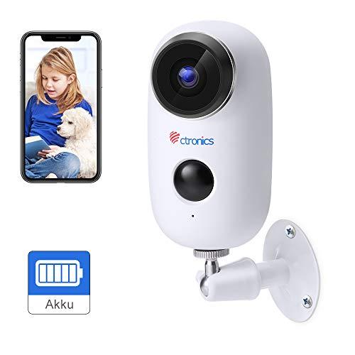 Ctronics Akku Überwachungskamera Aussen WLAN, Kabellose 1080P Batterie IP Kamera akku Outdoor mit PIR Bewegungsmelder, Push Alarme, 2-Wege-Audio, IR Nachtsicht, IP65 Wasserdicht