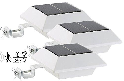 Lunartec Dachrinnen LED: Solar-LED-Dachrinnenleuchte, 160 lm, 2 W, PIR-Sensor, weiß, 3er-Set (Dachrinnenlampen)