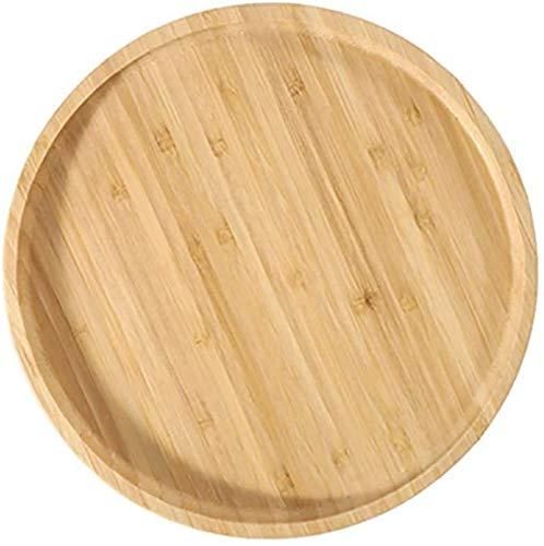 ZGYZ Bandeja de bambú para Servir,Platos rectangulares Redondos para Servir,Bandeja Grande para Servir la Cena,Plato para desayunar y Servir-A 14.5x14.5x2cm