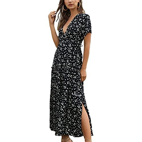 Vestido Maxi de Mujer Vestido Largo Acampanado con Estampado Floral Mangas Cortas con Cuello en V Playa Mar Sexy Cóctel Informal Chic Vintage Verano (Negro, XL)