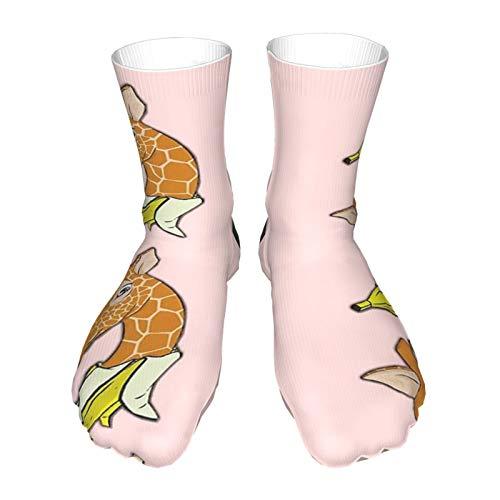 Socken für Erwachsene, Baumwolle, lange Strümpfe, schwarzer Absatz, dicke Socken, warme Socken, Unisex, 152 cm, Giraffe, Bananen-Socken