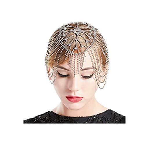 JJZXD Braut Kopfstück Kristall Strass Flapper Kappe Haarstück Gatsby Zubehör Party Backside Stirn Kopf Band Stück Schmuck