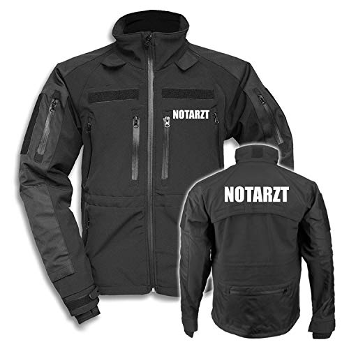 Copytec Tactical Softshell Jacke Notarzt Arzt Bereitschaftsdienst Medic Jacke #26748, Größe:XXL, Farbe:Schwarz