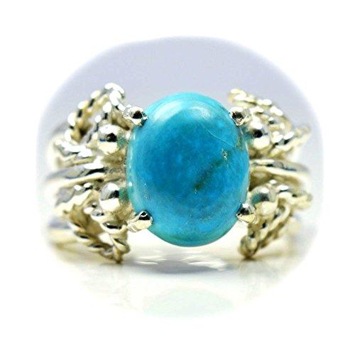 CaratYogi Femme Homme Mixte Argent 925 Argent sterling Ovale turquoise naturelle