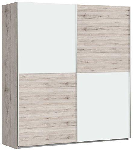 FORTE Winner Schwebetürenschrank mit 2 Türen, Holz, sandeiche + weiß, 170.3 x 61.2 x 190.5 cm
