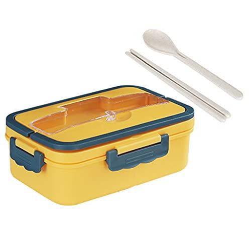 perfk Caja de Almuerzo Bento portátil de Almacenamiento para niños, Estudiante, Trabajador de Oficina, contenedor de Almuerzo, Caja de Almuerzo Cuadrada, Amarillo