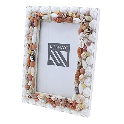Li'Shay Photo Frame Beach Theme Seashell Covered Real Shell Picture Frame