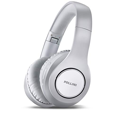 Bluetooth Headphones Over Ear, pollini Wireless Headset V5.0 with Deep Bass, Soft Memory-Protein Earmuffs and Built-in Mic for iPhone/Android Cell Phone/PC/TV (Silver)