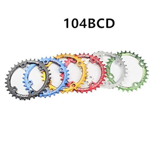 Denkqi 104BCD Oval 32T 34T 36T 38T MTB Platos y bielas Chainwheel Chainring aleación de Aluminio de reparación de Piezas de Bicicleta Bielas Bicicleta Gear (Color : 38T Blue Chainring)