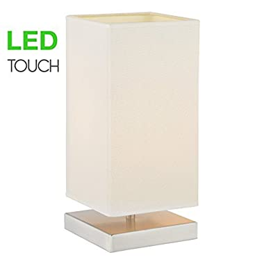 Kira Home Lucerna 13  TOUCH Bedside Table Lamp + 4W LED Bulb (40W eq.) Energy Efficient, Eco-Friendly, White Canvas Shade