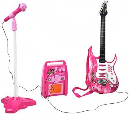 ISO TRADE Guitare électrique + amplificateur + Microphone avec Support Rose pour Filles à Piles 4709