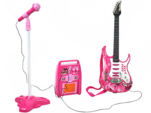 ISO TRADE Guitarra eléctrica + Amplificador + Micrófono con Soporte de Color Rosa para niñas 4709