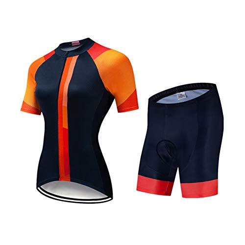 FJLR Maillots De Ciclismo Mujeres Camiseta Y 9D Gel Pantalones Cortos De Bicicleta Conjunto De Ropa para MTB Al Aire Libre,B,S