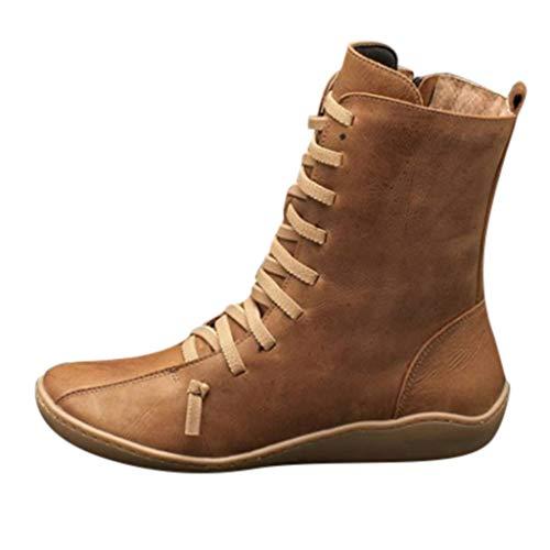 MRULIC Damen Retro Shoes Mittelhoher Stiefel aus Leder rutschfeste runde Form mit Martinstiefeln zum Schnüren Bootsschuhe Derby Kurzschaft Stiefel Winter Boots(Khaki,41 EU)