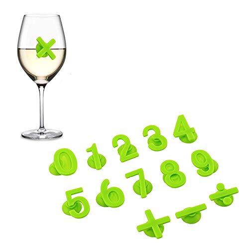 Dzmuero Marcatore per Bicchieri da Vino,14 Marcatori per Bevande Bicchieri Marcatura Digitale del Bicchiere di Vino in Silicone Identificazione Vino Riconoscimento Della Tazza Aspirazione Creativa