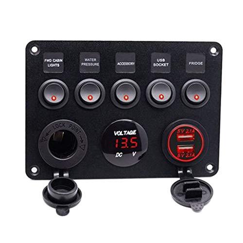 Homyl 12V 6 Gang Circiut LED Interrupteur à Bascule Panneau Voltmètre USB Chargeur