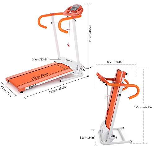 TOMSHOO 500W Folding Motorized Treadmill Electric Running Jogging Machine Home Gym Workout Fitness...