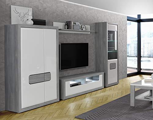 Wohnwand Tomasso Nordic Grey Oak und MDF Weiß Hochglanz 4 teilig von Forte Anbauwand Wohnzimmer Mediawand TV- Wand …