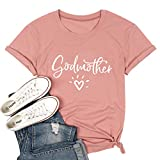 Mom Shirt Godmother Love T Shirts for Women Short Sleeve Causal Tee Tops Pink Small