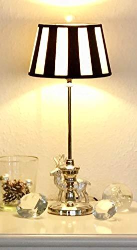 klassische Kaminleuchte/Simsleuchte/Tischlampe DORSET, rund* Nickel hochgänzend mit Chintzschirm *rund* (creme/schwarz) im Balkendesign 20cm, Höhe mit Schirm 465mm