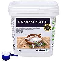 NortemBio Sal de Epsom 3 Kg. Fuente Concentrada de Magnesio. Sales 100% Puras. Baño y Cuidado Personal. E-Book Incluido.