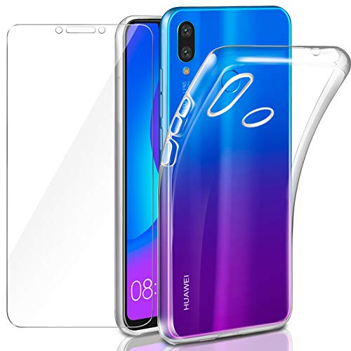 AROYI Huawei P Smart+ Hülle + Panzerglas, Huawei P Smart Plus Hülle, P Smart+ Durchsichtig Hülle Transparent Silikon TPU Schutzhülle Premium 9H Gehärtetes Glas für Huawei P Smart+/ Smart Plus/Nova 3i