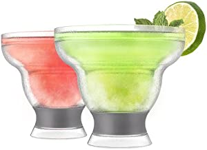 HOST Freeze Stemless Margarita, Plastic Glass Insulated Gel Chiller, Double Wall Frozen Cocktail, Set of 2 Cups, 12 oz, Grey