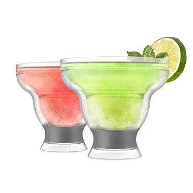 Host 3308 Freeze Stemless Margarita, Insulated Frozen Cocktail Plastic Glass Set of 2 Cups, 12 oz, Grey