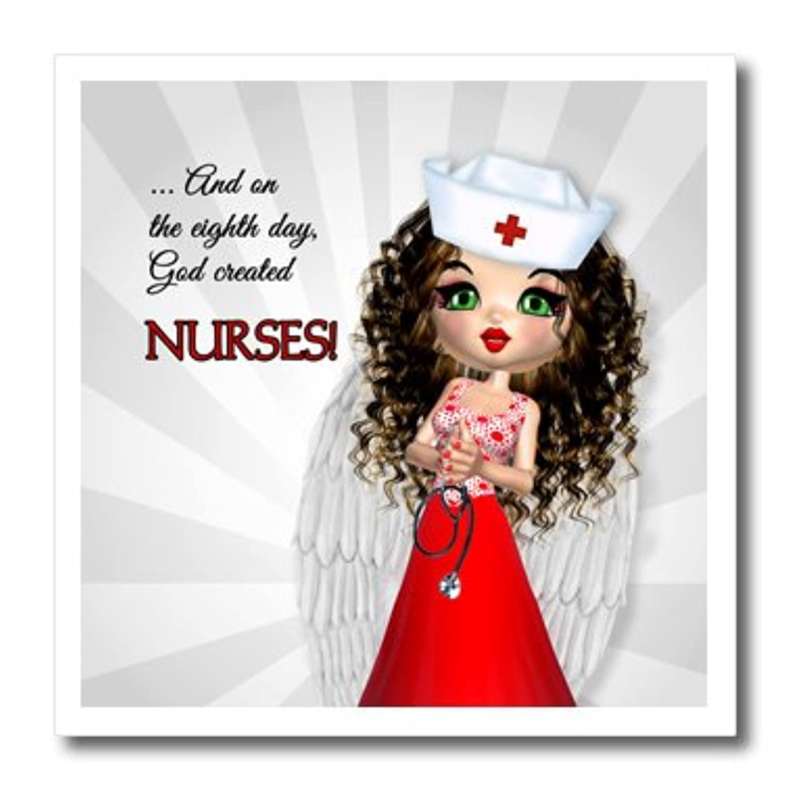 3dRose ht_127617_3 and on The Eighth Day God Created Nurses, Nurse Has Angel Wings Iron on Heat Transfer, 10 by 10-Inch, for White Material